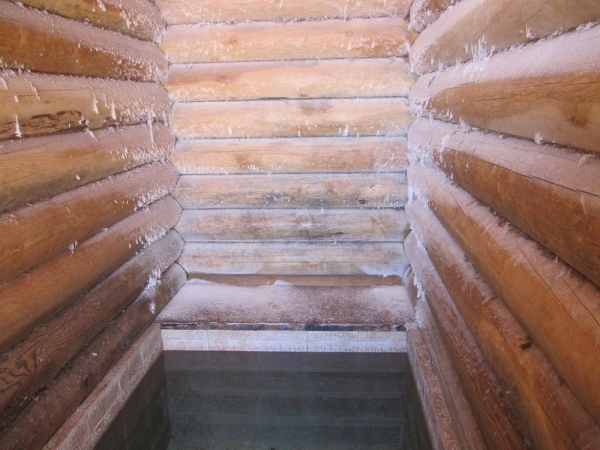 Иней на стенах купальни в Крещение